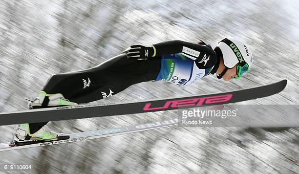 YAMAGATA Japan Photo shows the first jump of Japan's Sara Takanashi at a World Cup women's ski jumping event at Zao in Yamagata Prefecture on Feb 10...