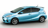 TOKYO Japan Photo shows Toyota Motor Corp's compact hybrid vehicle Aqua which the automaker plans to introduce at the Tokyo Motor Show starting in...