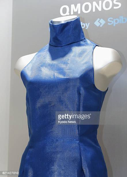 TOKYO Japan Photo taken in Tokyo on May 24 shows a dress made by Japanese bioventure Spiber Inc on a trial basis from artificially produced spider...