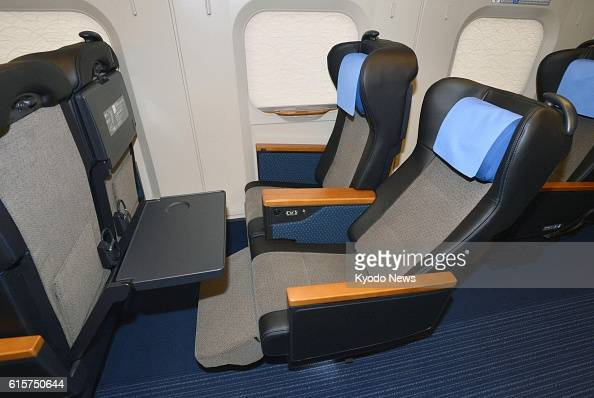 RIFU Japan Photo taken on Nov 22 shows seats in the more expensive 'green' coach of the East Japan Railway Co E6 series bullet train to be called the...