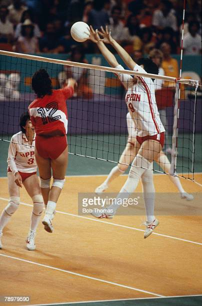 Sport 1984 Olympic Games in Los Angeles Womens Volleyball 3rd/4th place Match Japan 3 v Peru 1 Japan Bronze medal Japan's Otani with Peru's Malaga