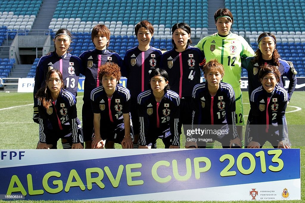 Japan player line up (L-R Back Row) Rumi Utsugi, Kana Osafune, Ami Otaki, Saki Kumagai, Erina Yamane and Yuki Ogimi, (Front Row) Emi Nakajima, Yuka Kado, Mari Kawamura, Marumi Yamazaki and Saori Ariyoshi before the Algarve Cup 2013 fifth place match at the Estadio Algarve on March 13, 2013 in Faro, Portugal.
