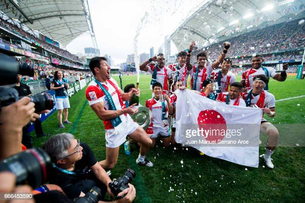 Japan players celebrate after winning the Shield final match against Wales during the 2017 Hong Kong Sevens at Hong Kong Stadium on April 9 2017 in...