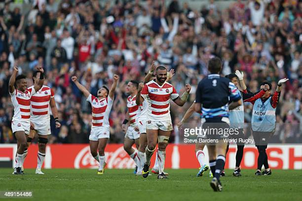 Japan players celebrate their surprise victory in the 2015 Rugby World Cup Pool B match between South Africa and Japan at Brighton Community Stadium...