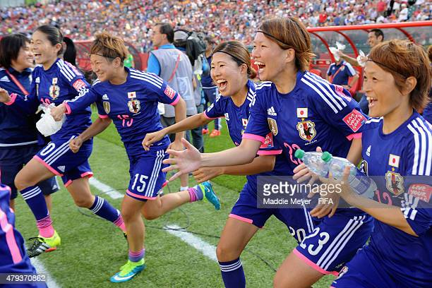 Japan players including Homare Sawa Yuika Sugasawa Yuri Kawamura Kana Kitahara and Megumi Kamionobe after their 21 win over England in the FIFA...
