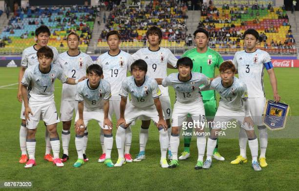 Japan players pose for a team photo prior to the FIFA U20 World Cup Korea Republic 2017 group D match between Uruguay and Japan at Suwon World Cup...