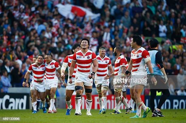 Japan players react to their suprise victory in the 2015 Rugby World Cup Pool B match between South Africa and Japan at the Brighton Community...