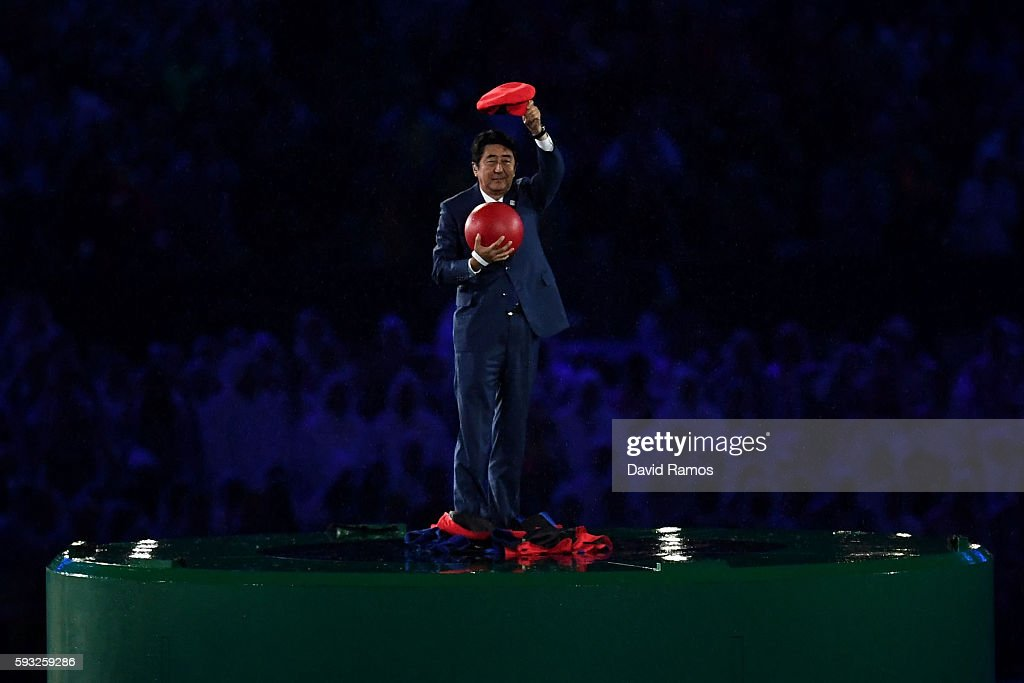 Japan Prime Minister Shinzo Abe appears during the 'Love Sport Tokyo 2020' segment during the Closing Ceremony on Day 16 of the Rio 2016 Olympic Games at Maracana Stadium on August 21, 2016 in Rio de Janeiro, Brazil.