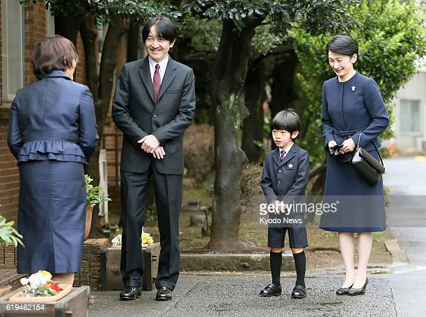 TOKYO Japan Prince Hisahito the third in line to the Chrysanthemum Throne arrives at his kindergarten affiliated with Ochanomizu University in...