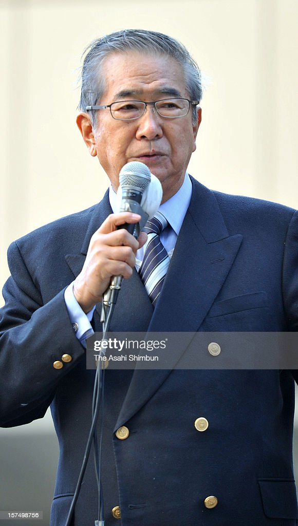 Japan Restoration Party leader <a gi-track='captionPersonalityLinkClicked' href=/galleries/search?phrase=Shintaro+Ishihara&family=editorial&specificpeople=665335 ng-click='$event.stopPropagation()'>Shintaro Ishihara</a> makes a street speech on December 4, 2012 in Osaka, Japan. The general election capmaign officially began for December 16, with the election issues such as nuclear power energy, economy growth and Trans Pacific Partnership negotiations.