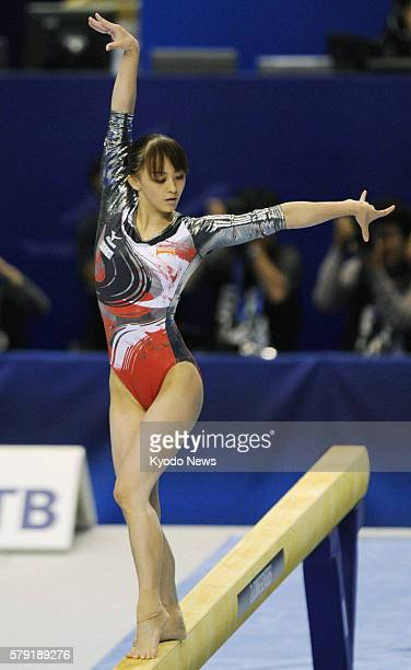 TOKYO Japan Rie Tanaka of Japan performs on the balance beam during the women's allaround final at the world gymnastics championships in Tokyo on Oct...