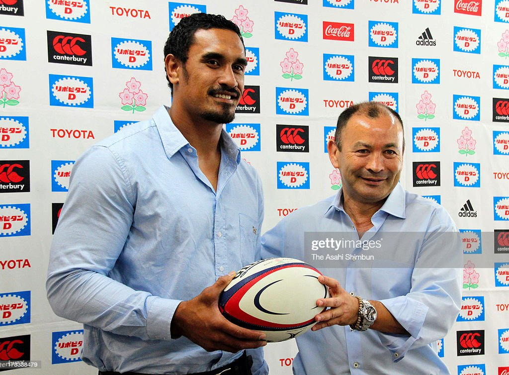 Japan rugby head coach Eddie Jones (R) and former All Blacks <a gi-track='captionPersonalityLinkClicked' href=/galleries/search?phrase=Jerome+Kaino&family=editorial&specificpeople=566976 ng-click='$event.stopPropagation()'>Jerome Kaino</a> pose for photographs during a press conference announcing international friendly match against New Zealand All Blacks on November 2, at Prince Chichibu Stadium on July 12, 2013 in Tokyo, Japan.