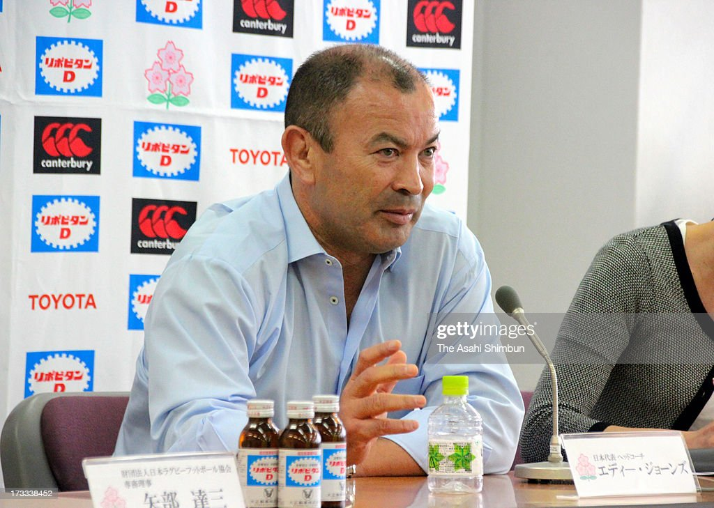 Japan rugby head coach <a gi-track='captionPersonalityLinkClicked' href=/galleries/search?phrase=Eddie+Jones+-+Rugby+Coach&family=editorial&specificpeople=13966519 ng-click='$event.stopPropagation()'>Eddie Jones</a> speaks during a press conference announcing international friendly match against New Zealand All Blacks on November 2, at Prince Chichibu Stadium on July 12, 2013 in Tokyo, Japan.