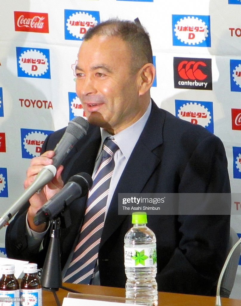 Japan rugby national team head coach <a gi-track='captionPersonalityLinkClicked' href=/galleries/search?phrase=Eddie+Jones+-+Rugby+Coach&family=editorial&specificpeople=13966519 ng-click='$event.stopPropagation()'>Eddie Jones</a> speaks during a press conference on November 26, 2013 in Tokyo, Japan. Jones recovered from a stroke.