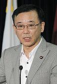 TOKYO Japan Sadakazu Tanigaki president of the main opposition Liberal Democratic Party announces the party's proposal to keep Japan's existing...