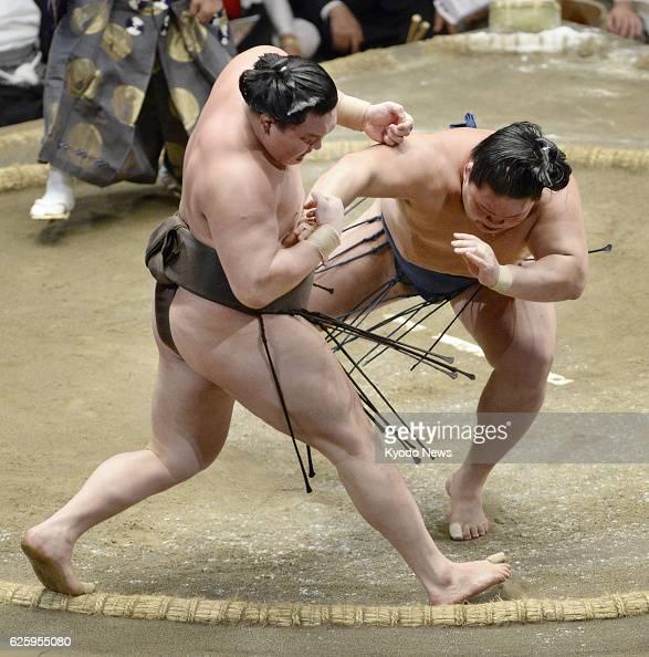 TOKYO Japan Sekiwake Goeido defeats grand champion Hakuho dealing him his first defeat on the 10th day of the Autumn Grand Sumo Tournament at Ryogoku...