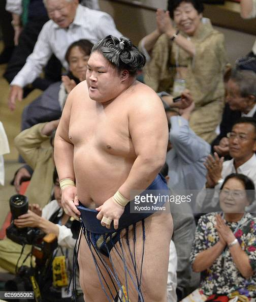 TOKYO Japan Sekiwake Goeido is shown shortly after defeating grand champion Hakuho dealing him his first defeat on the 10th day of the Autumn Grand...