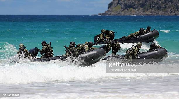 Japan SelfDefense Force members attend a landing operation as a part of the 'Pacific Rim' joint exercise on July 1 2014 in Kaneohe Hawaii Prime...