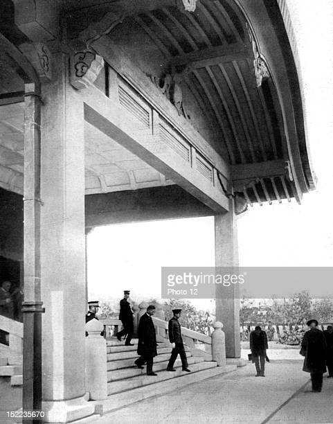 Japan Seven years after the earthquake celebrating the reconstruction of Tokyo Emperor Hirohito descending the steps of the sanatorium built in...