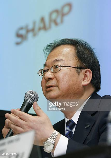 TOKYO Japan Sharp Corp President Takashi Okuda attends a press conference in Tokyo's Chiyoda Ward on Feb 1 on the company's earnings for the...