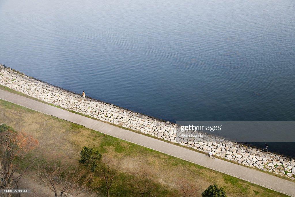 Japan, Shiga Prefecture, Otsu, road beside Biwa Lake, elevated view : Stock Photo