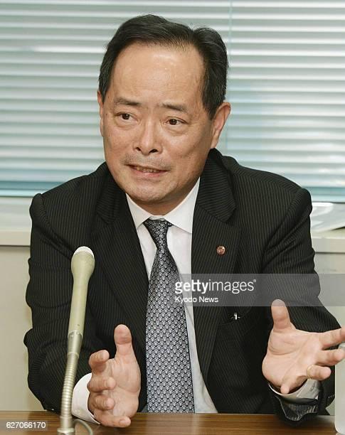 TOKYO Japan Shigeru Kimoto managing director of major department store chain Takashimaya Co holds a press conference in Tokyo on Jan 23 after being...