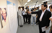 HIROSHIMA Japan Shin Hyong Gun South Korean consul general in Hiroshima points to exhibits featuring the diaries of foreign atomicbomb survivors at...