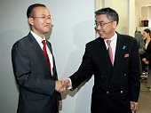 TOKYO Japan Shinsuke Sugiyama chief of the Japanese Foreign Ministry's Asian and Oceanian affairs bureau and Lim Sung Nam South Korea's new top...