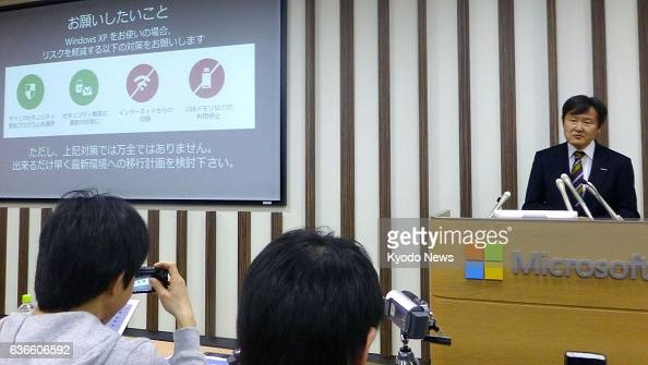 TOKYO Japan Shunichi Kajisa chief technology officer at Microsoft Japan Co speaks at a press conference in Tokyo on April 9 about the expiry of...