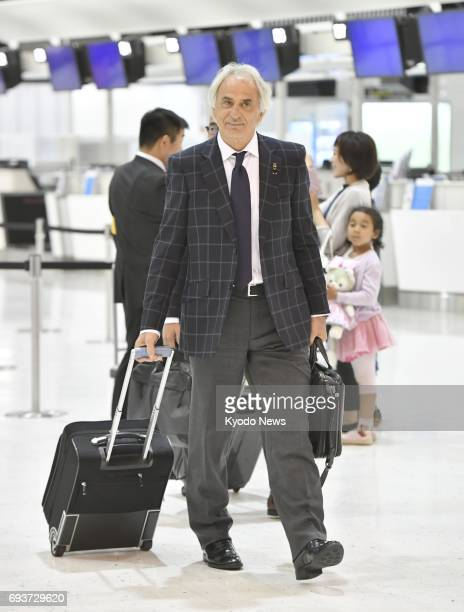 Japan soccer coach Vahid Halilhodzic leaves Narita International Airport near Tokyo on June 8 for Tehran to play Iraq on June 13 in a finalround...
