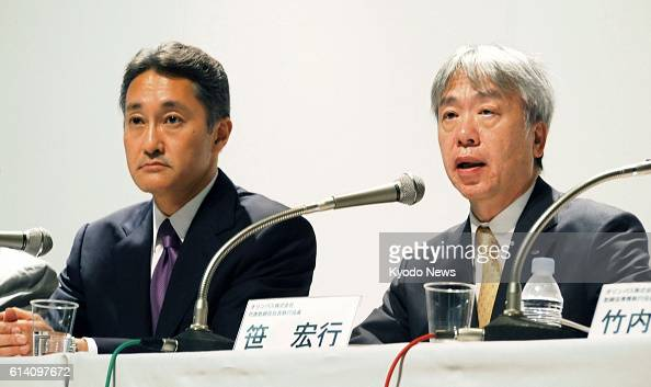 TOKYO Japan Sony Corp Kazuo Hirai and Olympus Corp President Hiroyuki Sasa hold a press conference in Tokyo on Oct 1 on their new tieup Hirai said...