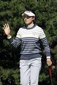 MIYAZAKI Japan South Korea's Jeon Mi Jeong responds to the crowd after a birdie on the ninth hole at Miyazaki Country Club in Miyazaki southwestern...