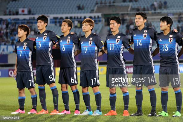 Japan stands for their national anthem the FIFA U20 World Cup Korea Republic 2017 group D match between Japan and Italy at Cheonan Baekseok Stadium...