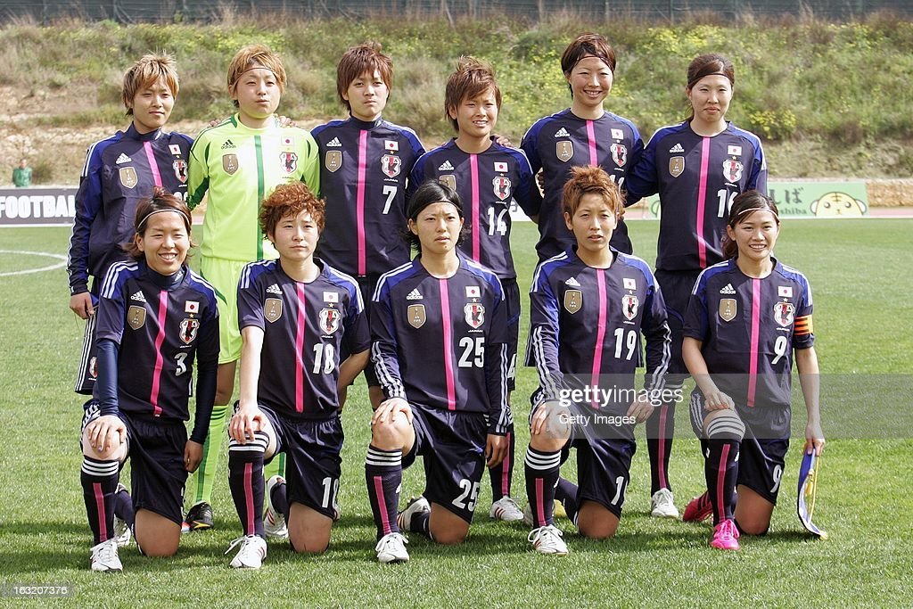 Back Row (L to R) Shiho Ogawa, Fubuki Kuno, Kana Osafune, <a gi-track='captionPersonalityLinkClicked' href=/galleries/search?phrase=Asuna+Tanaka&family=editorial&specificpeople=5617218 ng-click='$event.stopPropagation()'>Asuna Tanaka</a>, Ami Otaki, Yuri Kawamura; Front Row (L to R) <a gi-track='captionPersonalityLinkClicked' href=/galleries/search?phrase=Azusa+Iwashimizu&family=editorial&specificpeople=4076079 ng-click='$event.stopPropagation()'>Azusa Iwashimizu</a>, Yuka Kado, Mari Kawamura, Marumi Yamazaki and <a gi-track='captionPersonalityLinkClicked' href=/galleries/search?phrase=Nahomi+Kawasumi&family=editorial&specificpeople=7797300 ng-click='$event.stopPropagation()'>Nahomi Kawasumi</a> pose during the Algarve Cup match between Japan and Norway at the Complexo Desportivo Belavista on March 6, 2013 in Parchal, Portugal.