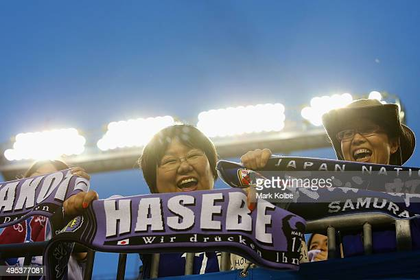 Japan supporters in the crowd cheer during the International Friendly Match between Japan and Costa Rica at Raymond James Stadium on June 2 2014 in...