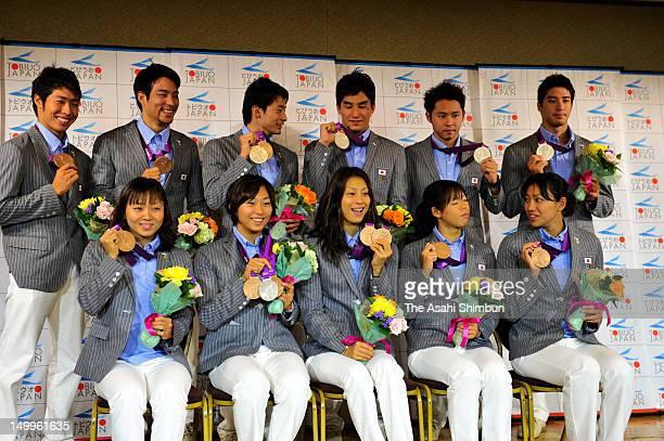 Japan swimming team medalists Yuka Kato Satomi Suzuki Aya Terakawa Natsumi Hoshi and Haruka Ueda Kosuke Hagino Ryo Tateishi Ryosuke Irie Takeshi...