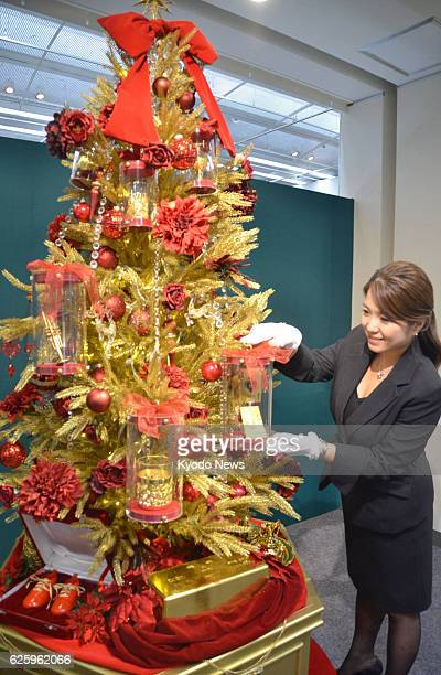 TOKYO Japan Takashimaya department store in Tokyo's Nihombashi district starts displaying a Christmas tree mounted on a gold block and adorned with...