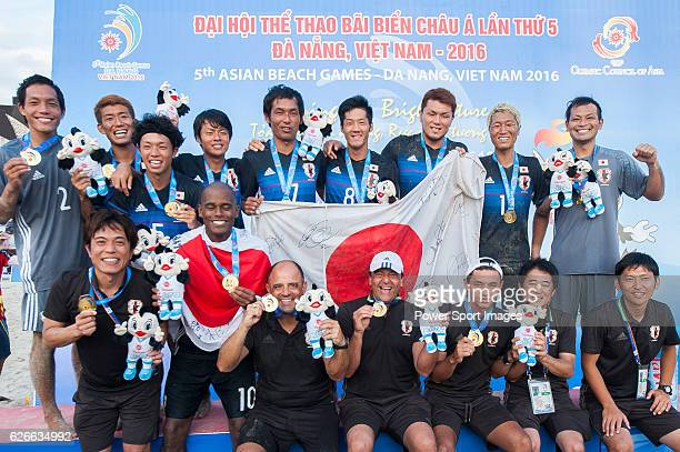 Japan Team celebrates after winning the Beach Soccer Men's Team Gold Medal Match between Japan and Oman on Day Nine of the 5th Asian Beach Games 2016...