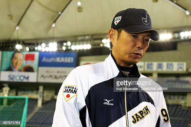 Japan team corch Hiroki Kokubo looks on a training session at the Tokyo Dome on November 20 2015 in Tokyo Japan
