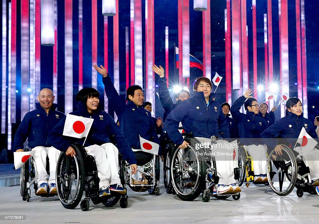 Japan team members enter during the Opening Ceremony of the Sochi 2014 Paralympic Winter Games at Fisht Stadium on March 7, 2014 in Sochi, Russia.