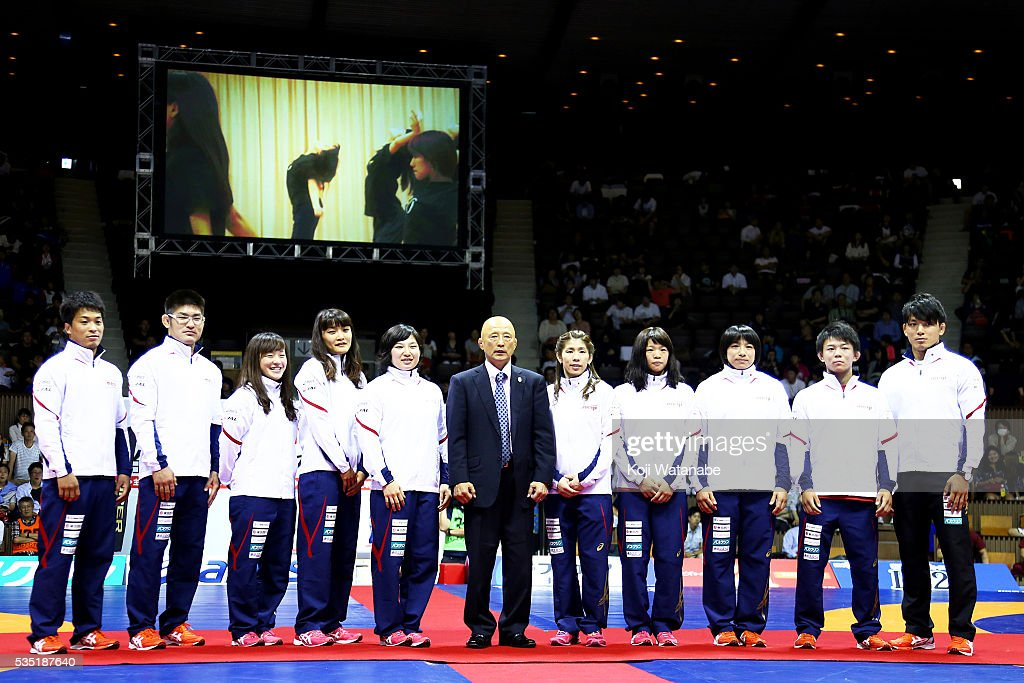 Japan team pose Rio Olympic Games national team during All Japan Wrestling Championships at Yoyogi National Gymnasium on May 29, 2016 in Tokyo, Japan.