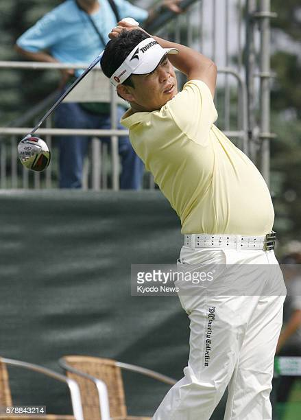 OTARU Japan Tetsuji Hiratsuka is seen in action in the first round of the Sun Chlorella Classic at Otaru Country Club in Hokkaido on July 28 2011...