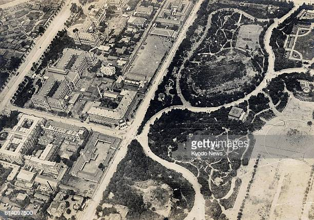 TOKYO Japan This aerial photo taken in 1922 shows an area in and around Hibiya Park and Kasumigaseki district of government ministries and agencies...