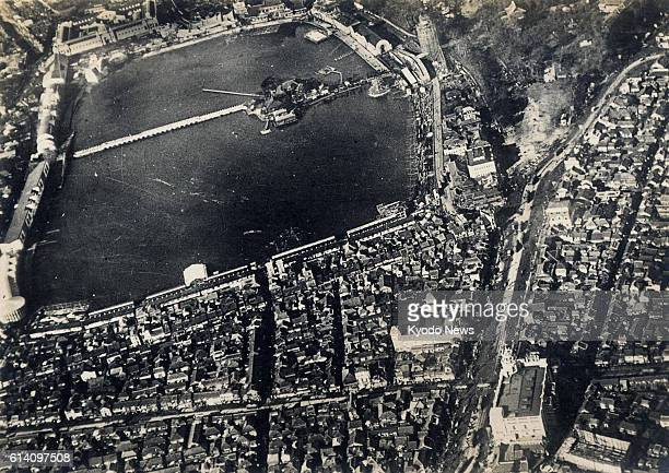 TOKYO Japan This aerial photo taken in 1922 shows Shinobazu Pond in Tokyo's Ueno district The Matsuzakaya department store can be seen in the bottom...