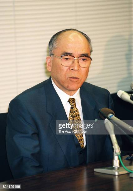 Japan Tobacco President Masaru Mizuno speaks during a press conference after the company's listing to the Tokyo Stock Exchange on October 27 1994 in...