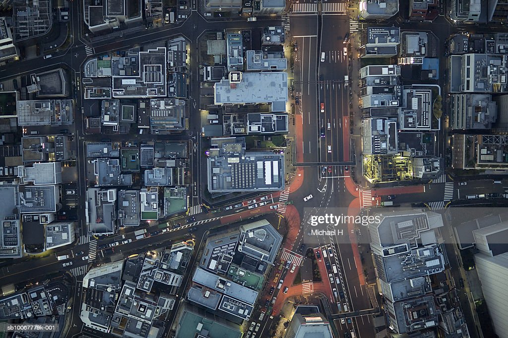 Japan, Tokyo, Aerial view traffic and street at Minato-ku ward : Stock Photo