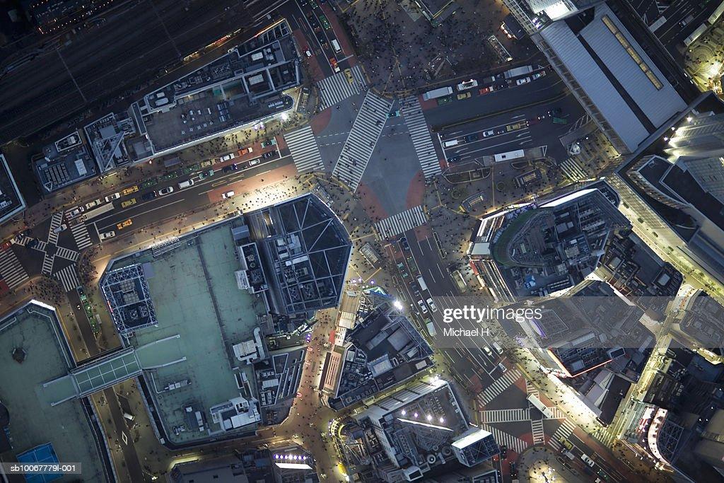 Japan, Tokyo, Aerial view traffic and street at Shibuya Ward : Stock Photo