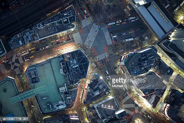 Japan, Tokyo, Aerial view traffic and street at Shibuya Ward