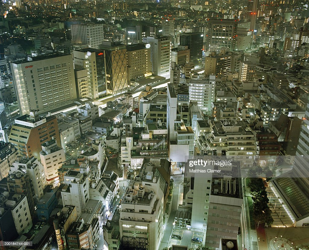 Japan, Tokyo, cityscape at night, aerial view