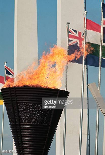 Closeup of the Olympic torch alight after opening ceremonies